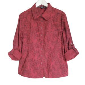 Red floral button up roll-tab blouse